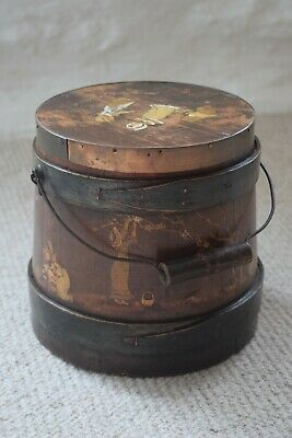 Antique Primitive Hand Painted Dutch Wooden Firkin Lidded Flour/Butter Bucket