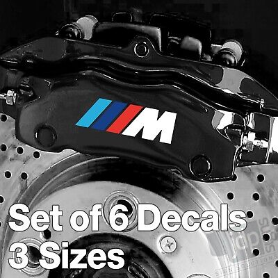 x6 BMW M Sport Badge Quality Brake Caliper Decals Stickers - White & Colours