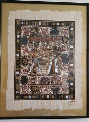 Egyptian Papyrus Signed Framed