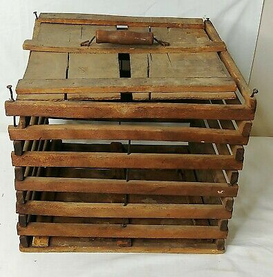Antique Wooden Safety Egg Crate Carrier Primitive Farmhouse Chicken