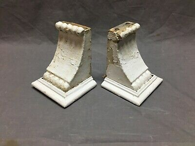 Small Pair Beaded Antique Wood Corbels Shabby Cottage Chic Vintage 136-19B