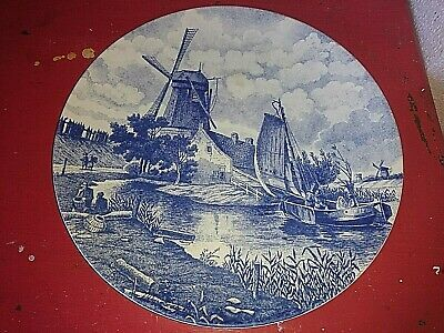Ancien Tres Beau Plat Assiette A Suspendre Faience Delf Blauw See Meeuw Holland