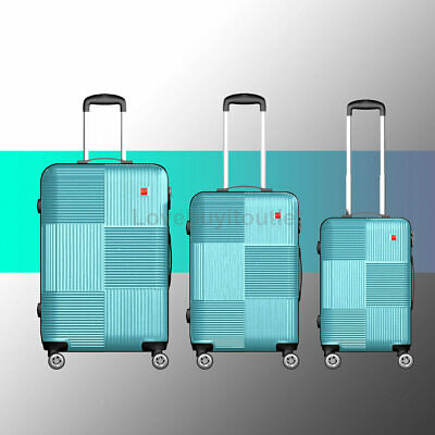3Pcs Blue Luggage Set Travel Bag ABS Trolley Spinner Lock Carry On Suitcase
