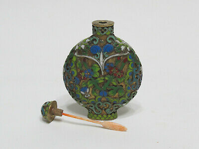 Fine Antique Chinese Floral Design Cloisonne Snuff Bottle with Seal mark