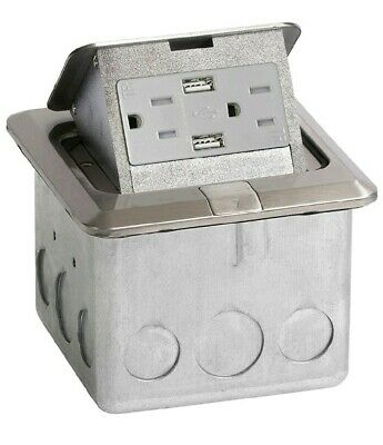 Lew PUFP-CT-SS-2USB Counter Box Assembly, 15A Receptacle, Stainless Steel