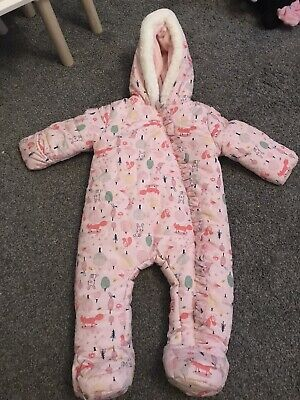 Baby Snow Suit Pink With Animals 9-12 Months New