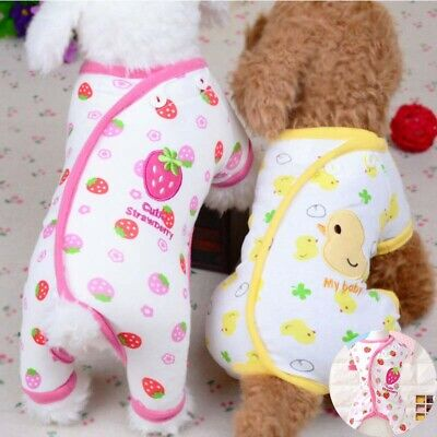 Soft Embroidery Cat Pajamas Cotton Small Pet Clothes Apparel Puppy Jumpsuit Dog