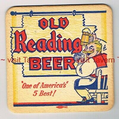 """1930s Pennsylvania OLD READING BEER Card Playing German 4"""" Coaster Tavern Trove"""