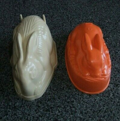 VINTAGE PLASTIC RABBIT JELLY MOULDS, made in England