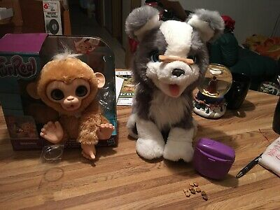 FurReal Ricky The Trick Lovin' Pup Toy - E0384 And The Fur Real Monkey Euc