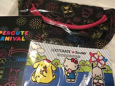 Officially Cute Loot Crate Sanrio Hello Kitty Carnival Belly Bag Notebook Pins