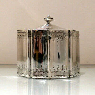 18thC Antique George III Sterling Silver Tea Caddy London 1787 William Plummer