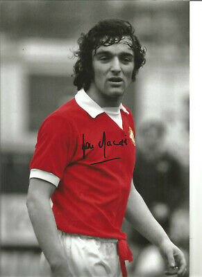 Football Autograph Lou Macari Manchester United Signed 12x8 in Photograph JM259