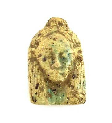 Beautiful Isis Hathor  Ancient Egyptian Antiques Stone Amulet Very Rare Faience