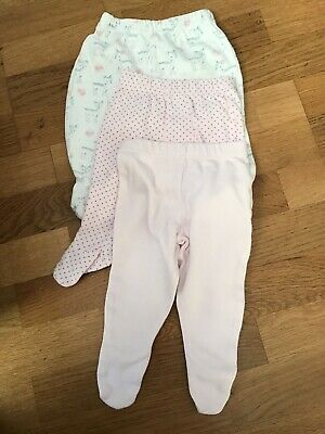 Pack Of 3 Baby Girls Footed Trousers 0-3 Months