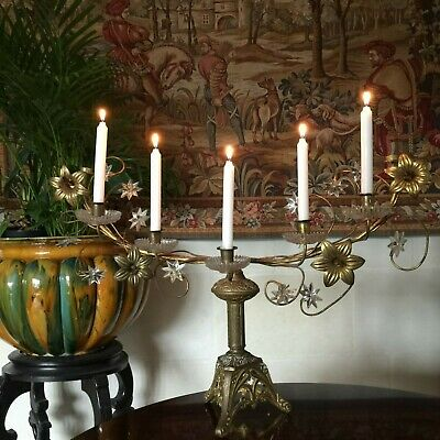 FABULOUS ANTIQUE 19ThC FRENCH GILDED BRONZE BRASS CANDLESTICK CANDELABRA GLASS