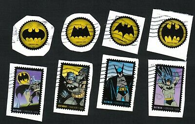 #4928-4935 Batman Stamps, Used Set of 8, Forever, On Paper