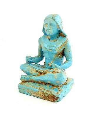 Ancient Egypt Seated Scribe Squatting Egyptian Antique Carved Blue  Sculpture
