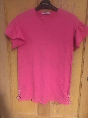 M&S Kids girls pink frilly sleeve T-shirt dress age 7-8 years