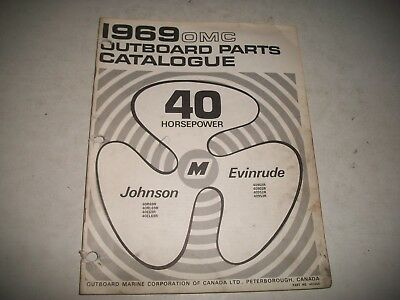 1969  EVINRUDE and JOHNSON  40 HP OUTBOARD PARTS LIST CATALOG MANUAL SHIFT