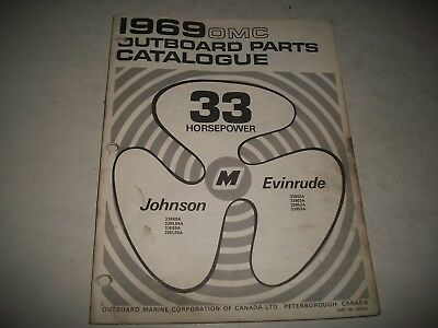 1969  EVINRUDE and JOHNSON  33 HP OUTBOARD PARTS LIST CATALOG MANUAL SHIFT