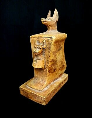 Giant Anubis Sculpture Egyptian Antique Set Mumm Faience Stone W/T Hieroglyphics