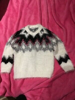 Girls New Matalan White With Pink, Silver And Black Sparkly Pattern Age 3 Yrs