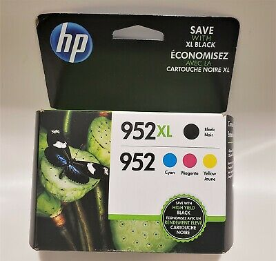 New Genuine Sealed HP 952xl Black 952 Color Ink Combo 4 Pack May 2021 Free Shipi