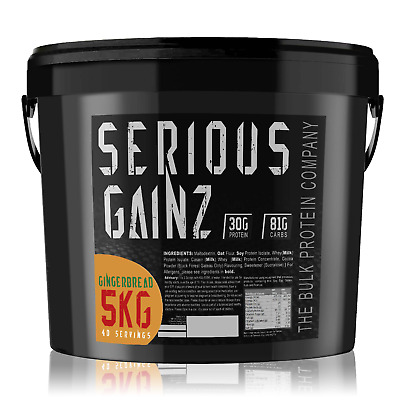 SERIOUS GAINZ LEAN MASS GAINER PROTEIN POWDER - 5kg - NEW Gingerbread Flavour!
