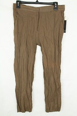 Brandon Thomas Women's Pants Crinkle Metallic Brown Capri's Semi Sheer Size PS