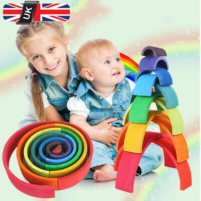 12pcs Non-toxic Wooden Montessori Toy Multicolor Stacking Baby Kids Gifts