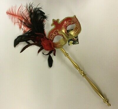 MASQUERADE Masks with Rose, Feathers & Stick for Balls & Fancy Dress - 6 Colours