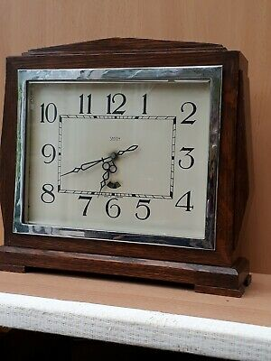Smiths Electric Clock  Vintage Mantel Wood Chrome Art Deco 1930's