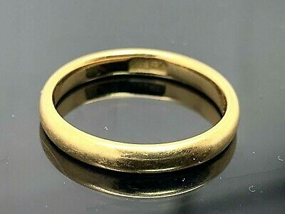 Wedding Band 18k Yellow Gold Solid Plain Ring Womens 2.9mm Wide Estate Jewelry 6