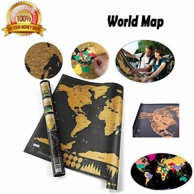 Deluxe Scratch Off World Map Poster Log Giant Journal Map Of The World Gift