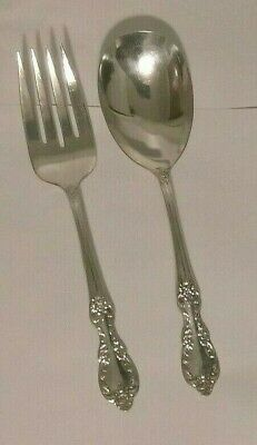 Wm Rogers GRAND ELEGANCE Silver Plate Casserole Spoon /Cold Meat Fork Set of (2)