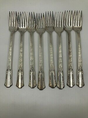 "WM Rogers Overlaid ""Treasure"" Silver Plate SET, 9 Teaspoons, 8 Forks, 5 Knives"