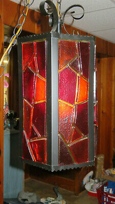Vintage Gothic Stained Glass Hanging Light Plug IN Cord Chain Mid Century Works
