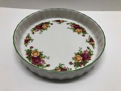 """Royal Albert OLD COUNTRY ROSES Bakeware Flan Quiche Baking Dish 8.5"""" Round RARE"""