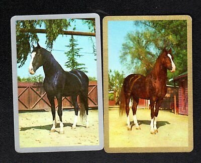 Vintage Swap/Playing Cards - Lovely Horses (Gold & Silver Borders)