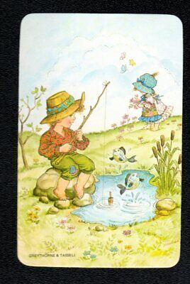Vintage Swap Card - Children in the Country (BLANK BACK)