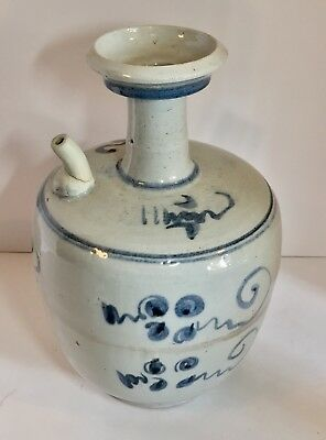 Antique Chinese Ming Dynasty Transitional Blue & White LARGE Ewer Teapot