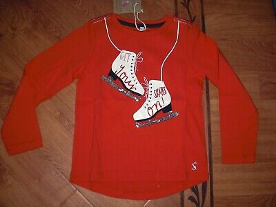 Bnwt Girls Joules Ava Red Ice Skates Sequin Long Sleeved Top Age 5 Yrs.