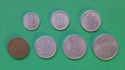 #1580 East Germany 7 coins set 1960-1990 VF-XF