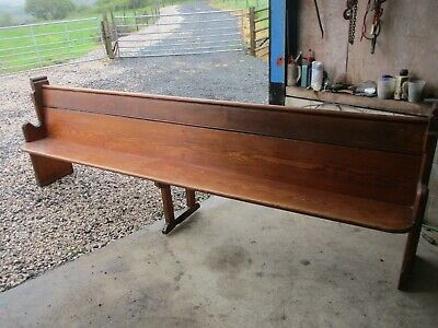Antique Wooden Pitch Pine Church Pew 10Ft Bench Architectural Garden Seating