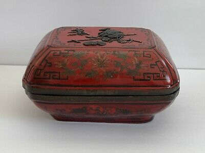 Vintage Chinese Red Lacquer Hand Painted Etched Decoration Box