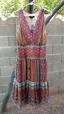 Women's ECI New York Beaded Boho Festival Dress Size 10 NWT Multicolor Print