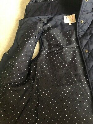 m&s girls navy quilted gilet wirh hood age 11-12
