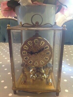 """Vintage Brass Kundo Anniversary Clock West Germany Etched Glass 9"""" High"""