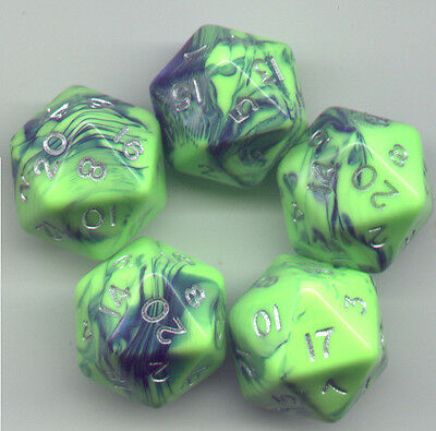 NEW RPG Dice Set of 10D10 Toxic Blue-Pink